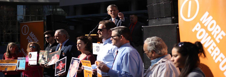 Attorney General Josh Stein speaking to crowd