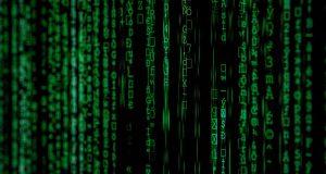 green data on black background