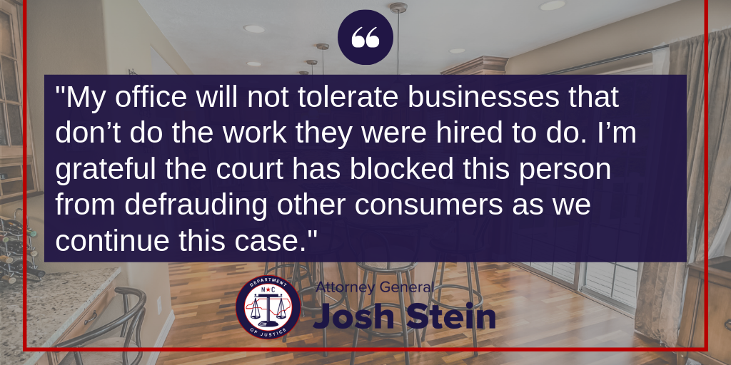 My office will not tolerate businesses that don't do the work they were hired to do